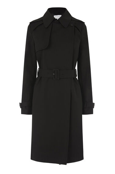 Warehouse, Clean Belted Trench Coat Black 0