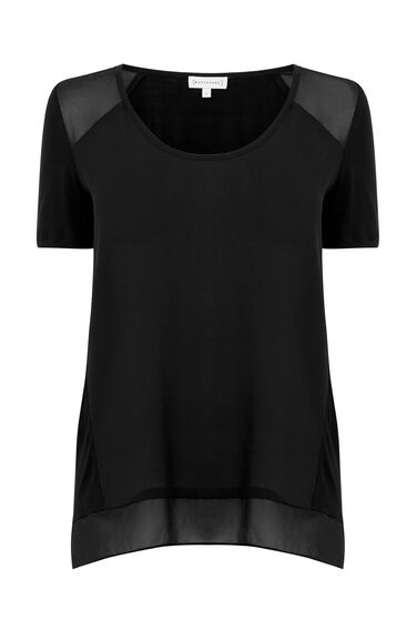 Warehouse, WOVEN FRONT TEE Black 0
