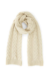 Warehouse, CABLE KNIT SCARF Cream 0