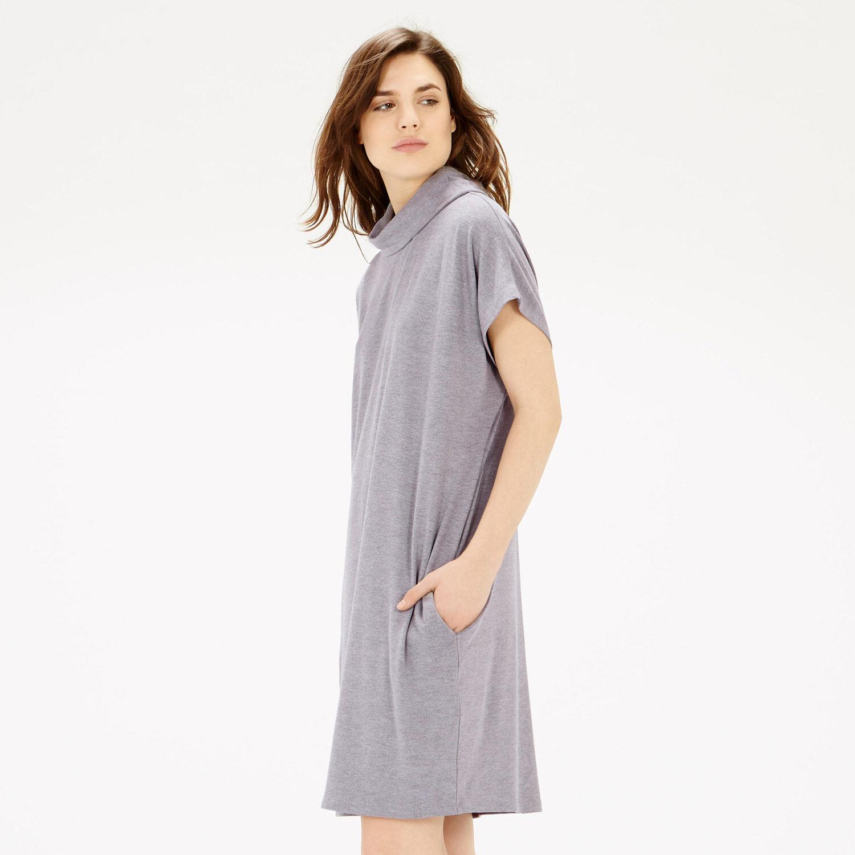 Warehouse, Cowl Tunic Dress Light Grey 1