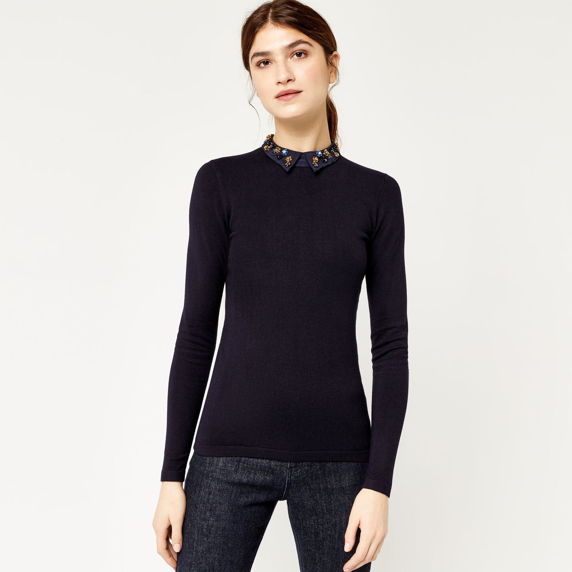 Warehouse, FLORAL COLLAR JUMPER Navy 1
