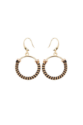 Warehouse, Circle Twisted Inlay Earrings Gold Colour 0