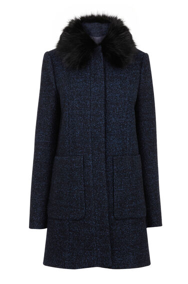 Warehouse, Swing Faux Fur Collar Coat Navy 0