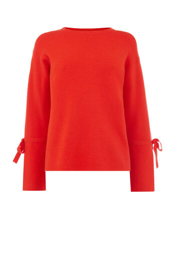 Warehouse, BOW CUFF MILANO JUMPER Bright Red 0
