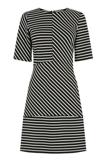 Warehouse, Stripe Ponte Panelled Dress Black Stripe 0