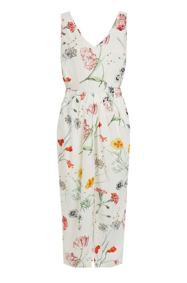 Warehouse, Scatter Floral Sleeveless Midi Neutral  Print 0