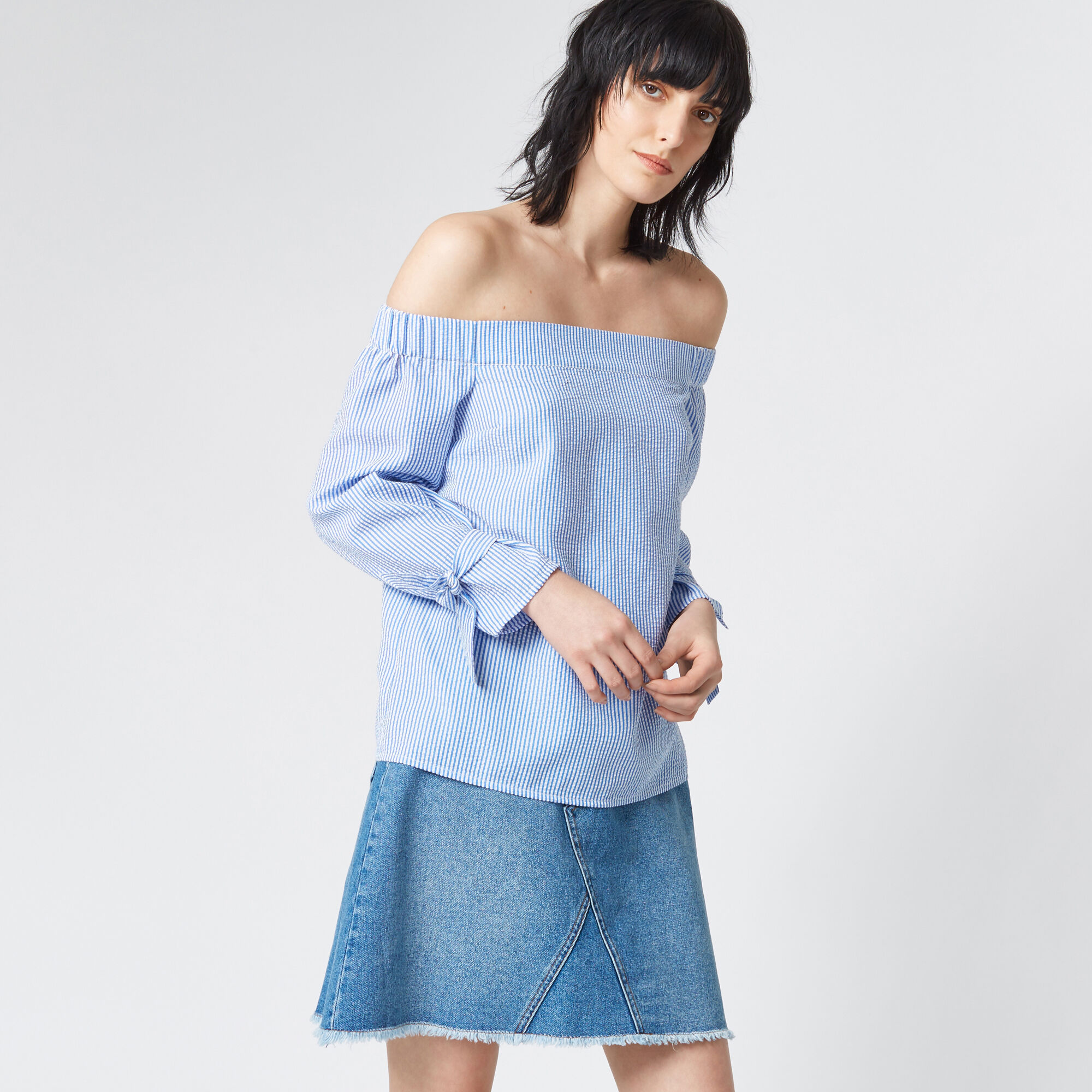 Warehouse, TIE STRAP BARDOT TOP Blue Stripe 1