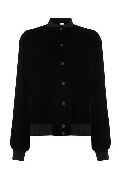 Warehouse, VELVET BOMBER JACKET Black 0