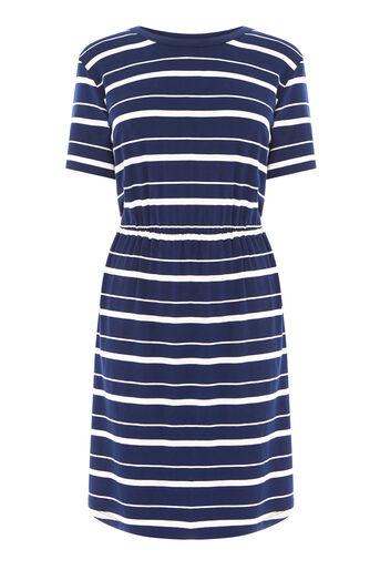 Warehouse, STRIPE GATHERED WAIST DRESS Blue Stripe 0