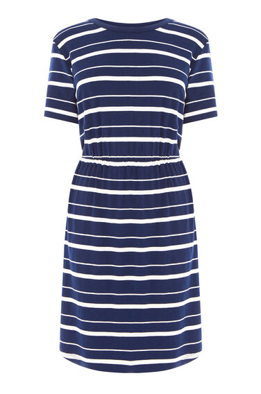 Warehouse, STRIPE GATHERED WAIST DRESS Blue Stripe 0