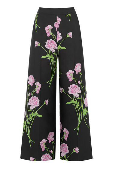 Warehouse, ENGLISH ROSE CROPPED TROUSER Black 0