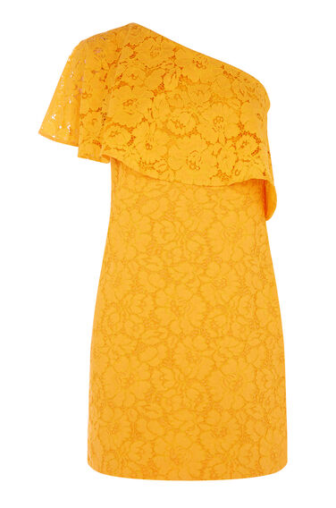 Warehouse, BONDED LACE ONE SHOULDER DRESS Yellow 0