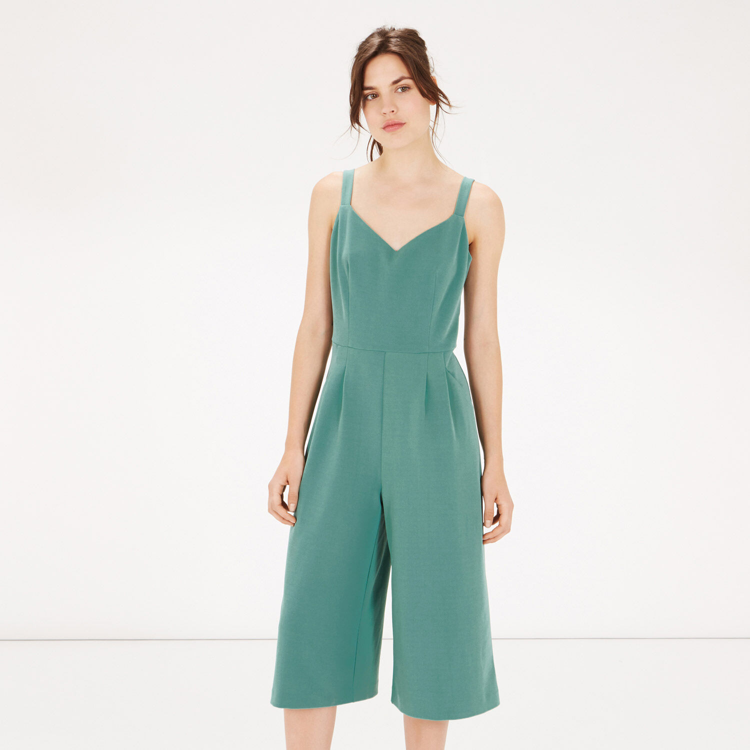 Warehouse, COMPACT CREPE JUMPSUIT Bright Green 1