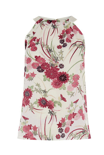 Warehouse, ORIENTAL FLORAL HIGH NECK TOP MULS 0