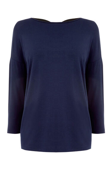 Warehouse, CROSS BACK DETAIL TOP Navy 0