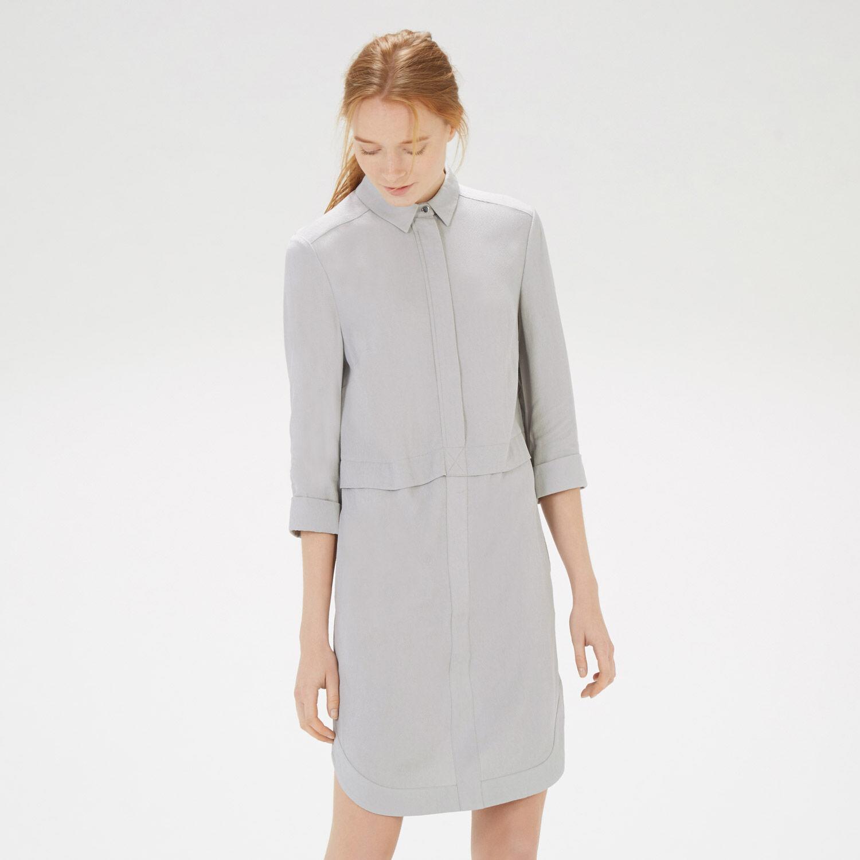 Warehouse, CONCEALED ZIP TEXTURED DRESS Light Grey 1