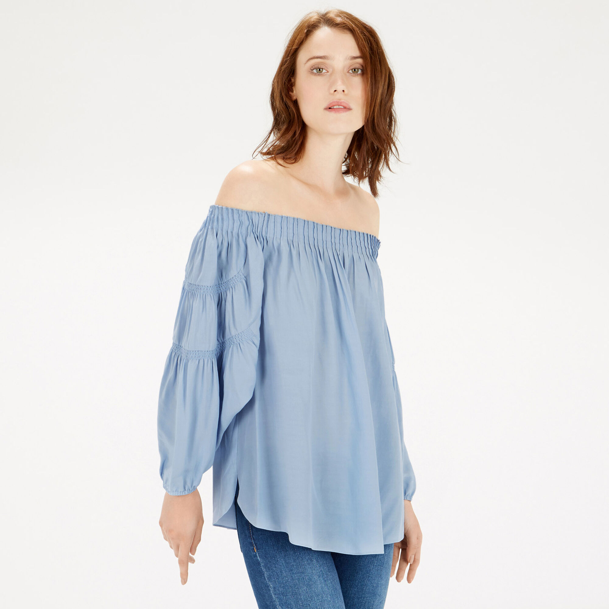 Warehouse, OFF SHOULDER BLOUSON TOP Light Blue 1