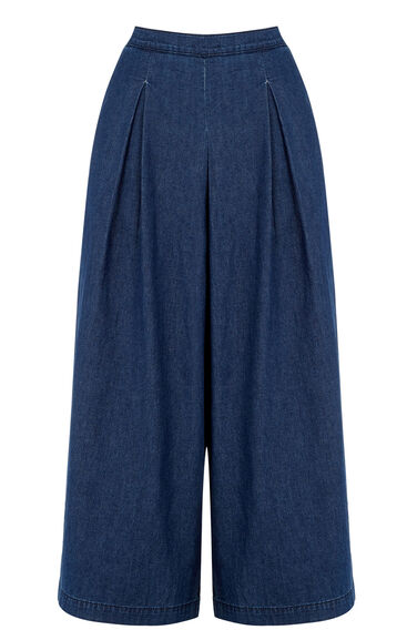 Warehouse, Soft Denim Culottes Indigo Denim 0