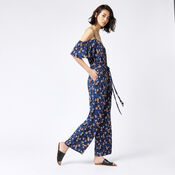 Warehouse, MAE FLORAL FRILL JUMPSUIT Blue Pattern 2