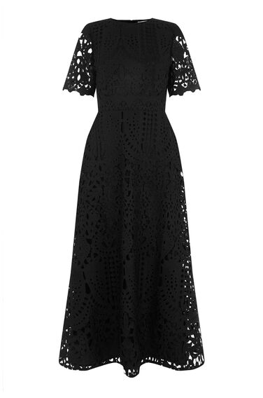 Warehouse, PREMIUM LACE MIDI DRESS Black 0
