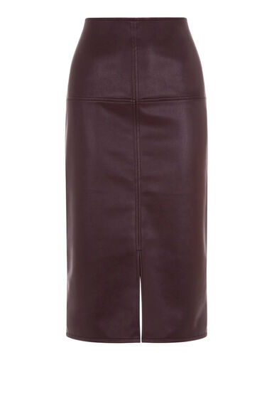 Warehouse, Faux Leather Pencil Skirt Berry 0