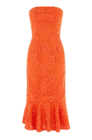 Warehouse, STRAPLESS PREMIUM LACE DRESS Orange 0