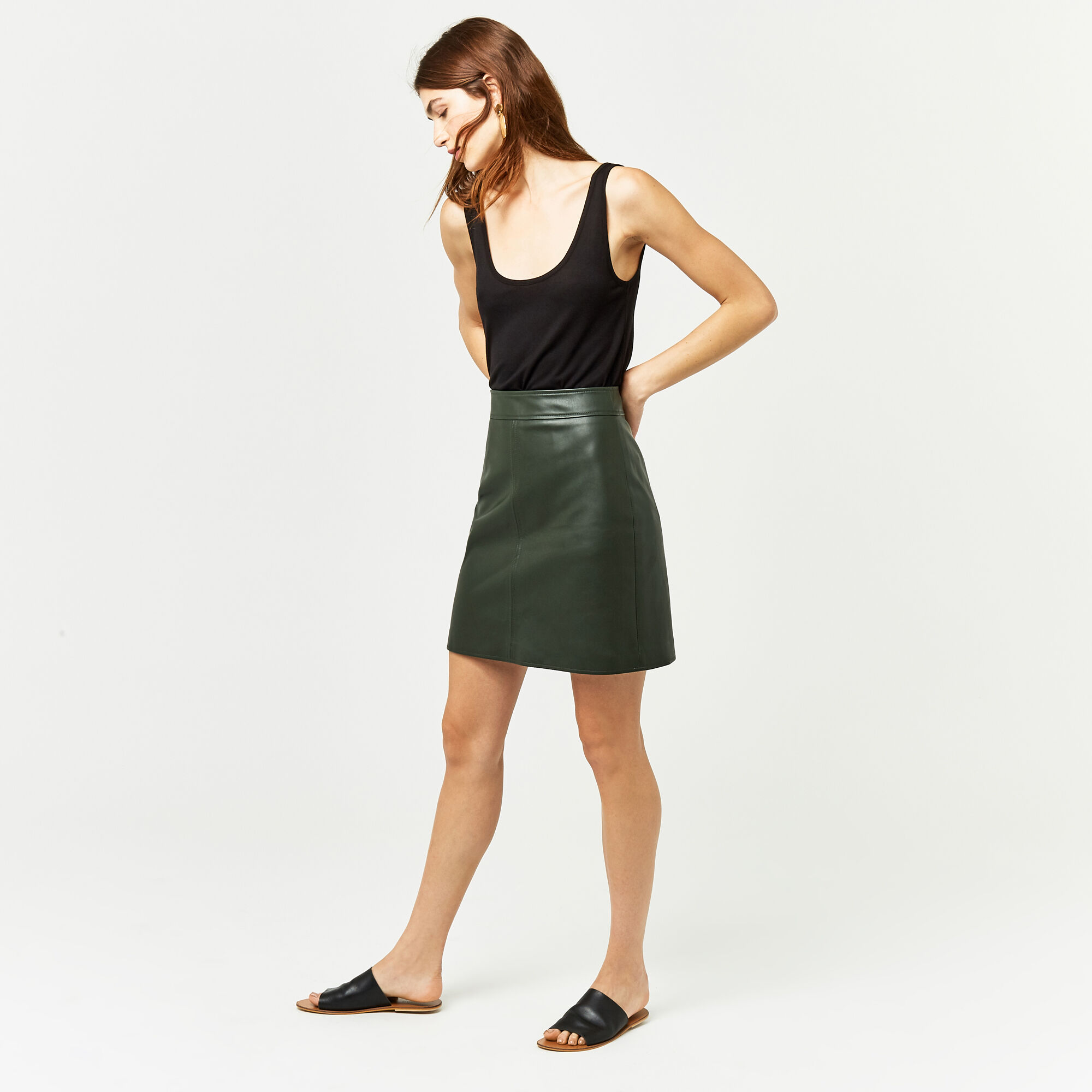 Warehouse, Faux Leather A Line Skirt Khaki 1