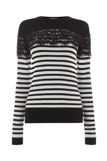Warehouse, STRIPE LACE JUMPER Black 0