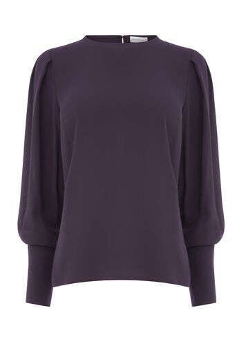 Warehouse, PUFF SLEEVE TOP Dark Purple 0