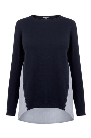 Warehouse, COTTON MIX HYBRID JUMPER Navy 0