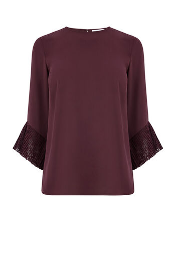 Warehouse, LACE CUFF TOP Berry 0