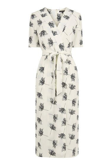 Warehouse, STENCIL FLORAL DRESS Cream 0
