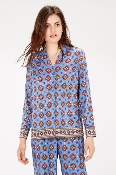 Warehouse, TILE PRINT PYJAMA SHIRT Blue Pattern 1