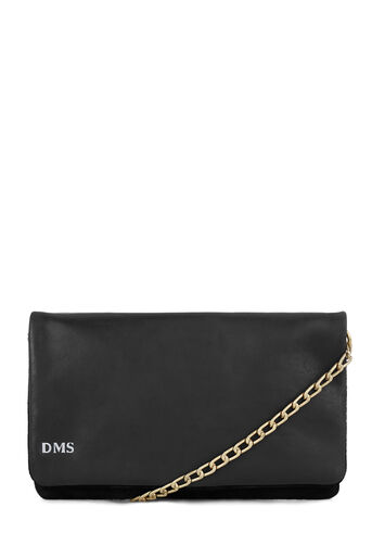 Warehouse, MONOGRAM LEATHER CHAIN BAG Black 0