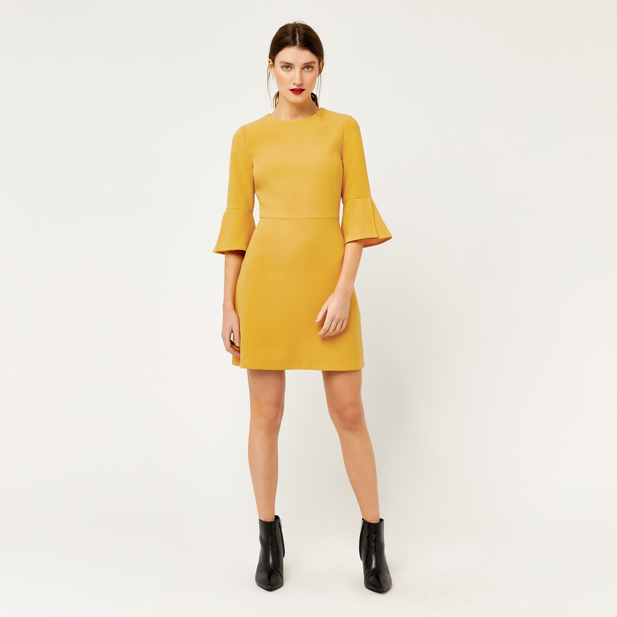 Warehouse, FLUTE SLEEVE DRESS Mustard 1