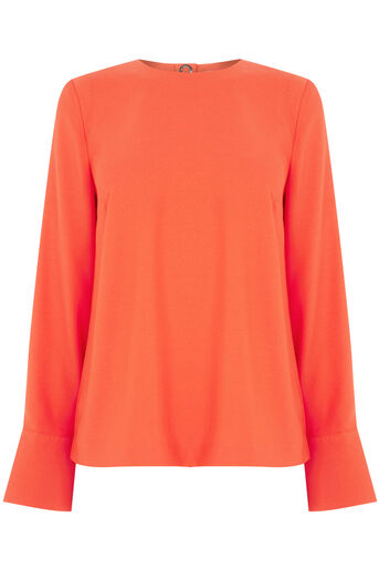 Warehouse, EYELET DETAIL TOP Orange 0