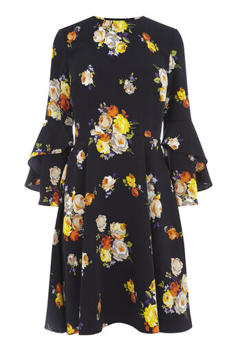 Warehouse, VICTORIA FLORAL BABYDOLL DRESS Navy 0