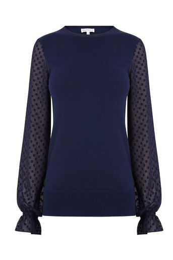 Warehouse, TEXTURED WOVEN SLEEVE JUMPER Navy 0