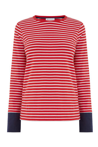 Warehouse, CONTRAST CUFF STRIPE TOP Red Stripe 0