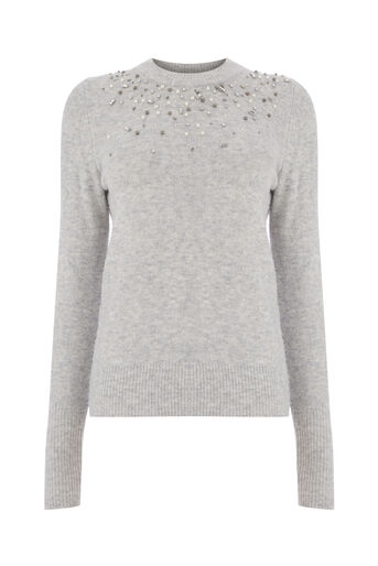 Warehouse, COSY EMBELLISHED FRONT JUMPER Light Grey 0