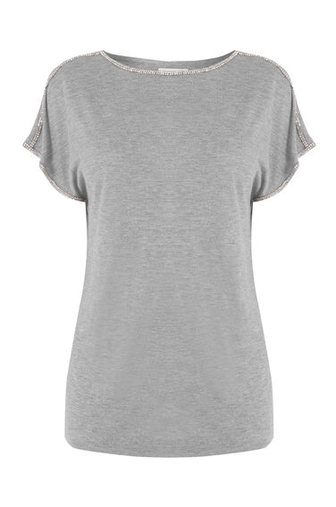 Warehouse, DIAMANTE TRIM TOP Dark Grey 0
