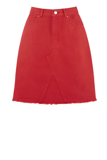Warehouse, Reconstructed Denim Skirt Bright Red 0
