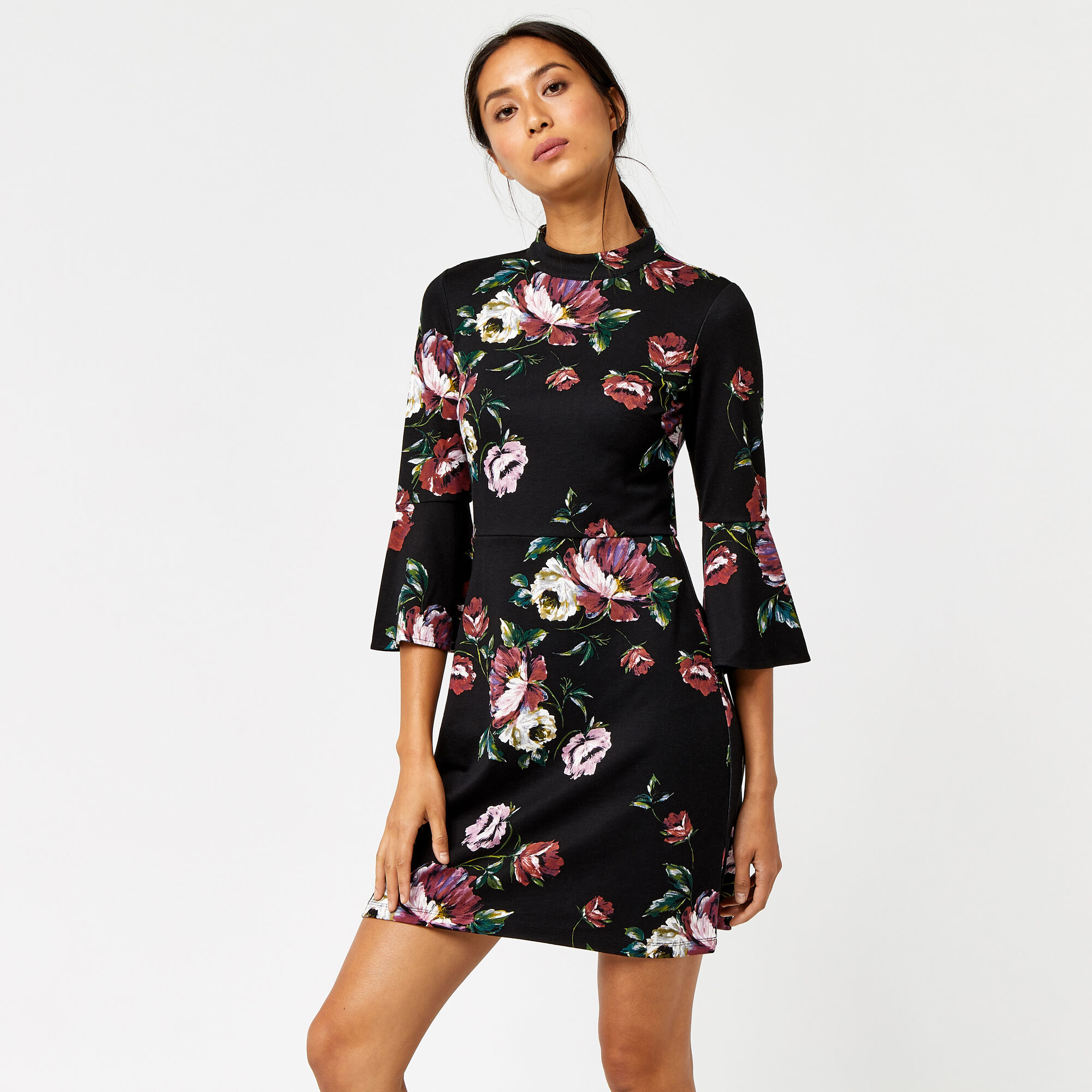 Warehouse, COUNTRY ROSE PONTE DRESS Black Pattern 1