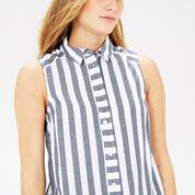 Warehouse, Sleeveless Stripe Shirt Blue Stripe 4