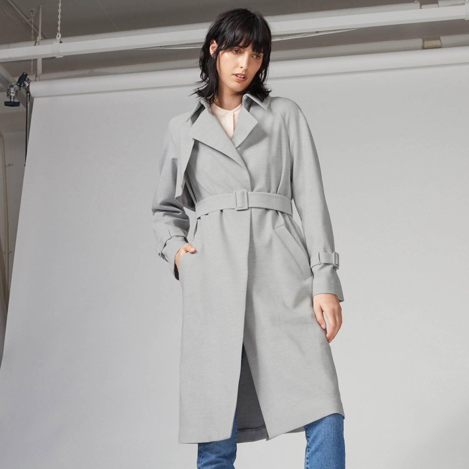 Warehouse, Belted Duster Light Grey 1