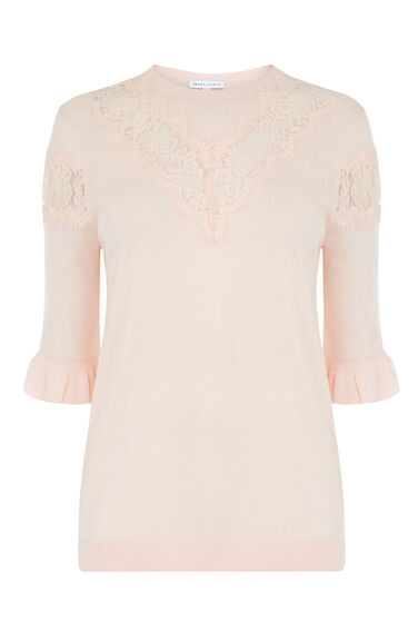Warehouse, LACE INSERT FRILL CUFF JUMPER Light Pink 0