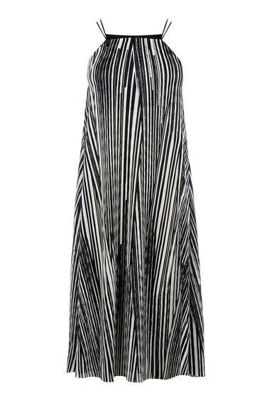 Warehouse, GEO PLISSE TRAPEZE DRESS Black Stripe 0