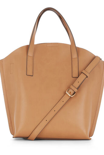 Warehouse, CURVE TOP TOTE BAG Camel 0