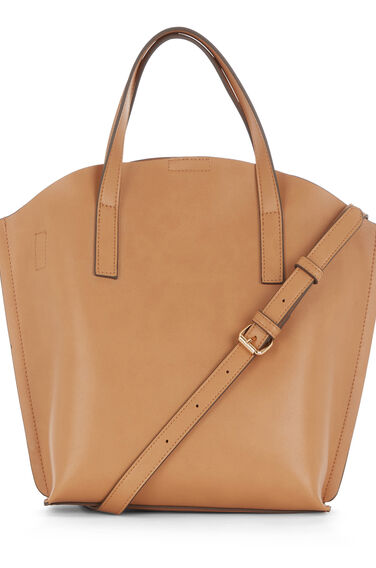 Warehouse, CURVE TOP TOTE BAG CAMEL Camel 0