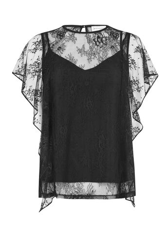 Warehouse, LACE RUFFLE TEE Black 0